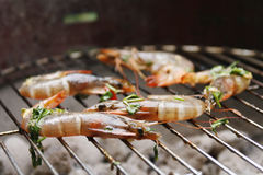 Gambas on barbecue Royalty Free Stock Photo