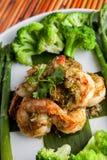 Gambas del camarón con las verduras Fotografía de archivo