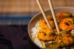 Gambas del curry con el arroz 03 Foto de archivo