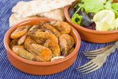 Gambas Pil Pil (camarões crepitantes) Imagens de Stock
