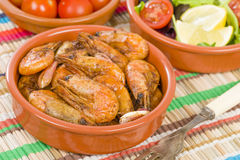 Gambas Pil Pil (Sizzling prawns) Stock Photo
