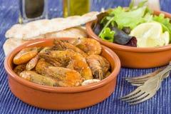 Gambas Pil Pil (Sizzling prawns) Stock Image