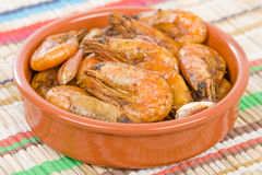 Gambas Pil Pil (Sizzling prawns) Stock Photos