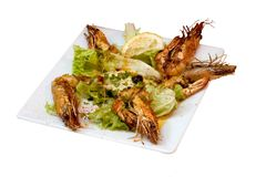Gambas plate. On a white background Royalty Free Stock Images