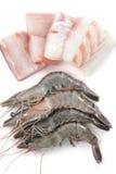 Gambas y carne de pescados frescas Imagen de archivo libre de regalías