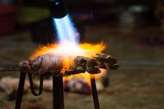 Gambe brucianti della carne di maiale prima della pulizia in una zona rurale Immagine Stock Libera da Diritti