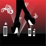 Gambe con i tacchi alti sopra la città, illustrazione di vettore Immagine Stock