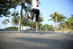 Gambe del pareggiatore di forma fisica che corrono al parco tropicale Immagine Stock