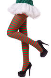 Gambe della donna in calze a strisce Fotografie Stock Libere da Diritti