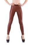 Gambe della donna che indossano le calze lunghe isolate Fotografia Stock Libera da Diritti