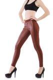 Gambe della donna che indossano le calze lunghe isolate Fotografia Stock