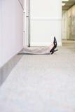 Gambe della donna che si trovano sul pavimento Fotografia Stock