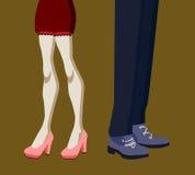 Gambe della donna e dell'uomo nella posizione di litigio illustrazione di stock
