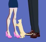 Gambe della donna e dell'uomo e un gatto fra loro, illustrazione di vettore illustrazione di stock