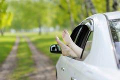 Gambe della donna fuori Windows nell'automobile fra gli alberi Immagine Stock