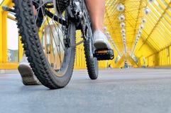 Gambe della ragazza che si siede dalla retrovisione della bicicletta immagini stock