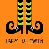 Gambe della strega con i calzini e le scarpe a strisce Halloween felice Cartolina d'auguri Progettazione piana Fondo arancio del  Immagine Stock Libera da Diritti