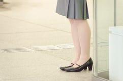 Gambe di una donna di affari Fotografie Stock