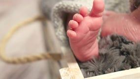 Gambe e dita del piede adorabili di un neonato stock footage