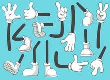 Gambe e mani del fumetto Gamba in stivali e mano gloved, piedi comici in scarpe Insieme dell'illustrazione isolato vettore del br royalty illustrazione gratis