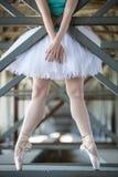 Gambe potate dell'immagine della ballerina graziosa dentro Fotografia Stock