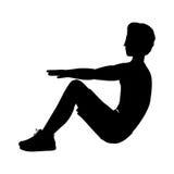 Gambe raccolte ABS di esercizio dell'uomo della siluetta Fotografie Stock Libere da Diritti
