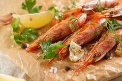 Gamberetti arrostiti con la spezia, l'aglio ed il limone Frutti di mare arrostiti closeup immagine stock libera da diritti