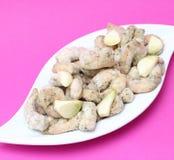 Gamberetti congelati con aglio Fotografia Stock Libera da Diritti