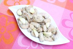 Gamberetti congelati con aglio Fotografie Stock Libere da Diritti