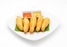 Gamberetti della tigre fritti in pasta Fotografie Stock