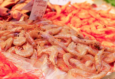 Gamberetti freschi nel mercato Fotografie Stock