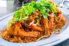 Gamberetti o gamberetti fritti con stile tailandese dell'alimento della salsa piccante Immagine Stock Libera da Diritti