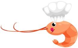 Gamberetto con il cuoco unico del cappello Fotografia Stock