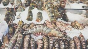 Gamberetto crudo fresco al mercato tailandese dei frutti di mare Immagini Stock