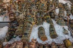 Gamberetto crudo fresco dell'aragosta al mercato tailandese dei frutti di mare Immagine Stock Libera da Diritti