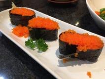 Gamberetto dell'uovo dei sushi Fotografia Stock