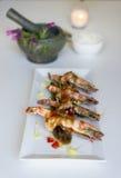 Gamberetto di re con la salsa del tamarindo Fotografie Stock