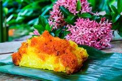 Gamberetto e noce di cocco rossi del brandello su riso appiccicoso giallo Stile tailandese s Fotografia Stock Libera da Diritti