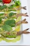 Gamberetto in salsa di pesce con la zucca affettata Immagine Stock