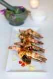 Gamberetto tailandese di cusine con la salsa del tamarindo Fotografie Stock