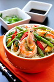 Gamberi con riso e le verdure Fotografie Stock Libere da Diritti