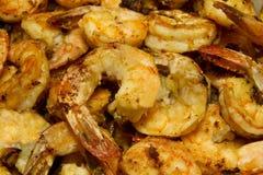 Gambero dell'aglio fritto vicino in su Immagini Stock Libere da Diritti
