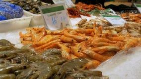 Gambero e gamberetto rossi nel ghiaccio sul contatore nel mercato ittico di Boqueria della La Barcellona spain archivi video