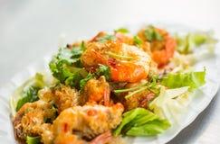 gambero Mescolare-fritto con aglio Fotografia Stock Libera da Diritti