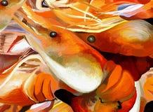 Gambero o re gigante cotto Prawn BBQ illustrazione di stock
