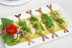 Gambero in salsa di pesci Fotografie Stock Libere da Diritti