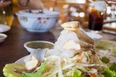 Gambero in salsa di pesci Fotografia Stock Libera da Diritti