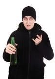Gamberro con una cerveza Imagen de archivo libre de regalías