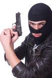 Gamberro joven con el arma Fotografía de archivo libre de regalías