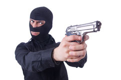 Gamberro joven con el arma aislado Imagen de archivo libre de regalías